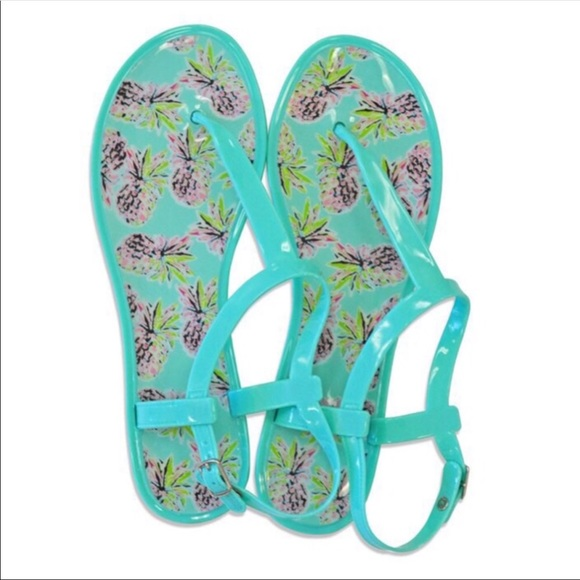 All For Color Shoes - 🍍NEW Jelly T-strap Blue ➕ Pineapple Print Sandals